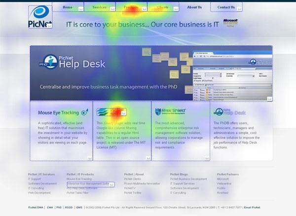 Heatmap einer Webseite (Foto: PICNET)