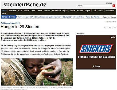 Bad Ad: Snickers - und der Hunger ist gegessen