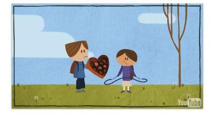 Das Google Doodle zum Valentinstag 2012