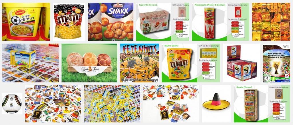 Spezielle Produkte und Werbung zur WM in Brasilien